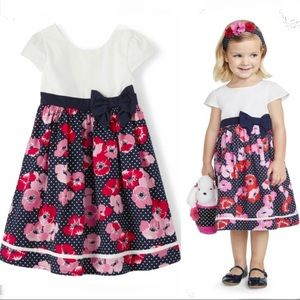 NWT • Gymboree Floral Dot Dress Playful Poppies 5T